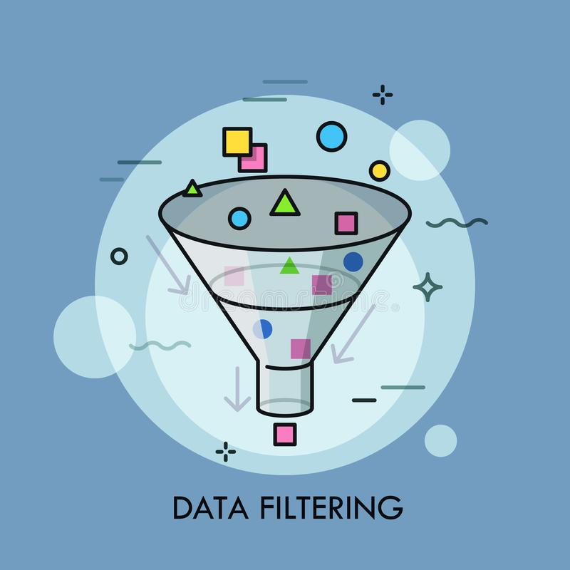 Conceito da informação filtrando de dados digitais da seleção, eletrônica e da classificação ilustração do vetor