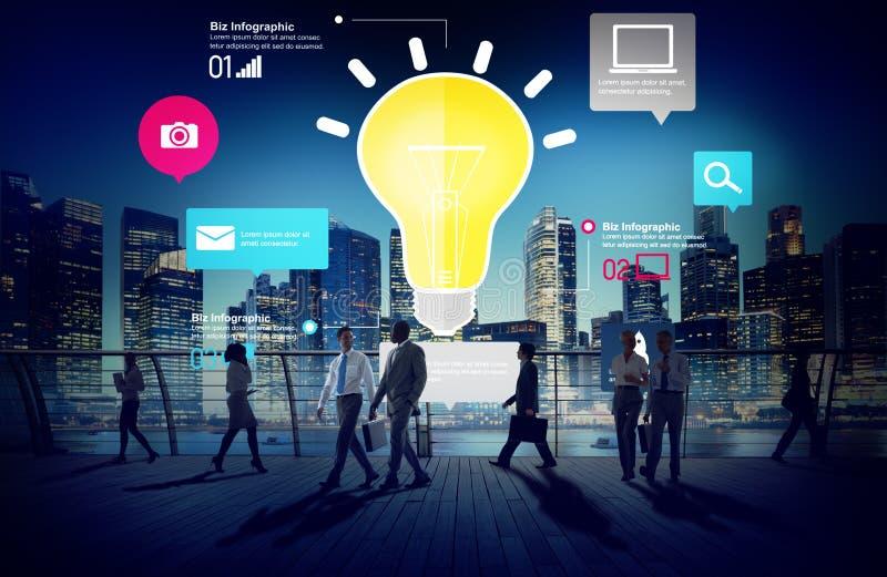 Conceito da inovação dos negócios Infographic da faculdade criadora da inspiração das ideias foto de stock