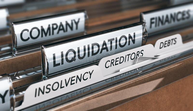 Conceito da insolvibilidade e da liquação da empresa ilustração stock
