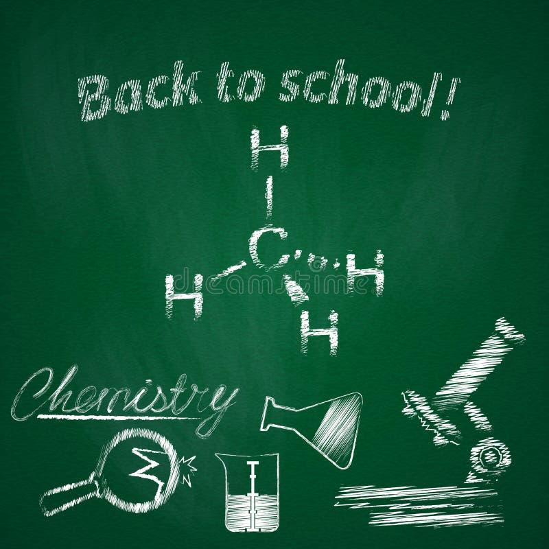 Conceito da instrução Assunto da química da lição Fundo da escola com desenho geométrico e elementos tirados mão para o projeto ilustração stock
