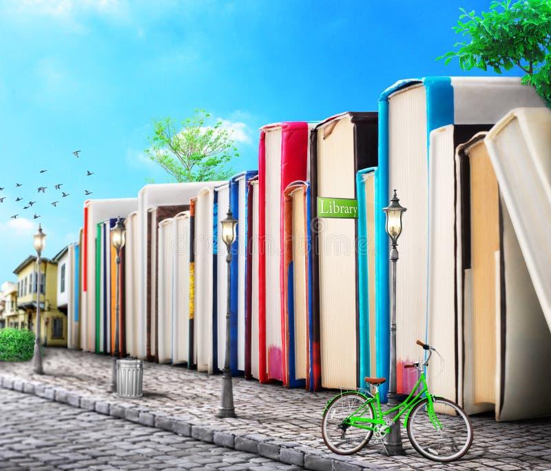 Conceito da instrução campus Pilha de livros ilustração stock