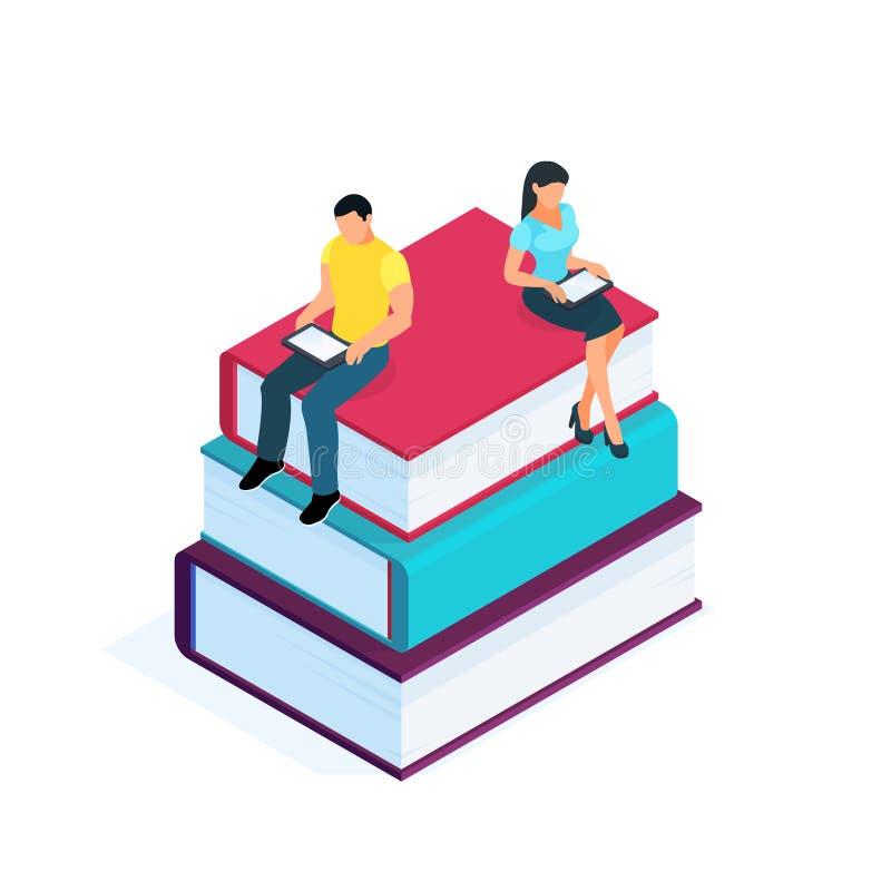 Conceito da instrução Pilha isométrica dos livros ilustração royalty free