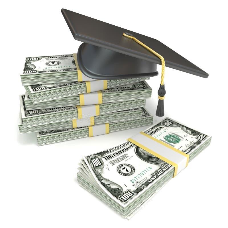 Conceito da instrução Tampão da graduação na pilha de notas de dólar rendição 3d ilustração royalty free