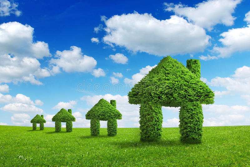Conceito da integração da casa do verde da natureza da ecologia do ambiente imagens de stock royalty free