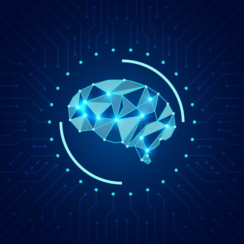 Conceito da inteligência artificial Cérebro poligonal brilhante moderno no fundo com microcircuito ilustração do vetor