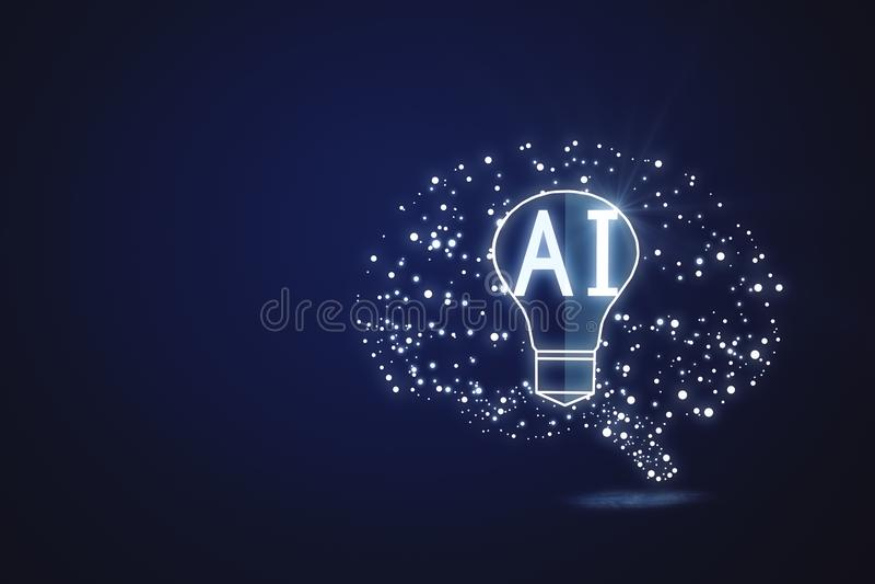 Conceito da inteligência artificial e da mente ilustração do vetor