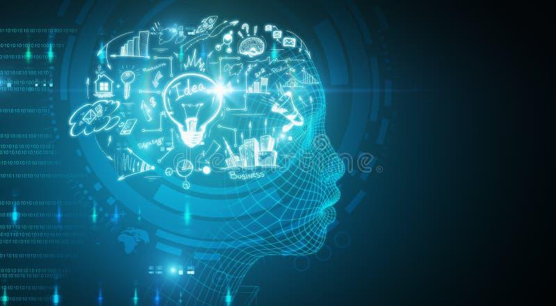 Conceito da inteligência artificial e da mente ilustração stock