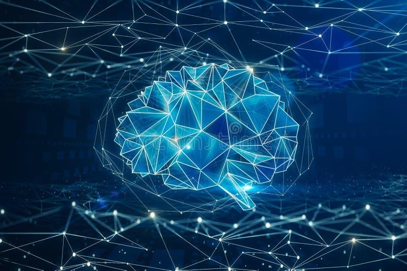 Conceito da inteligência artificial e da mente ilustração royalty free