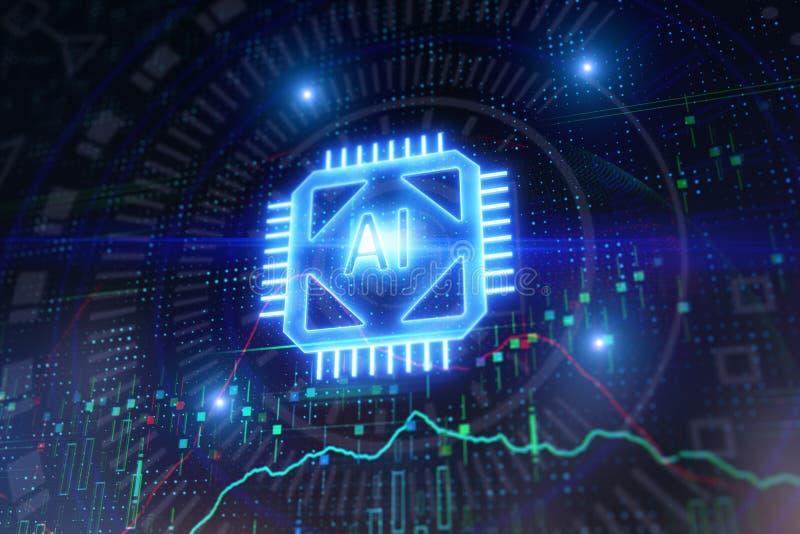 Conceito da inteligência artificial e da tecnologia ilustração stock