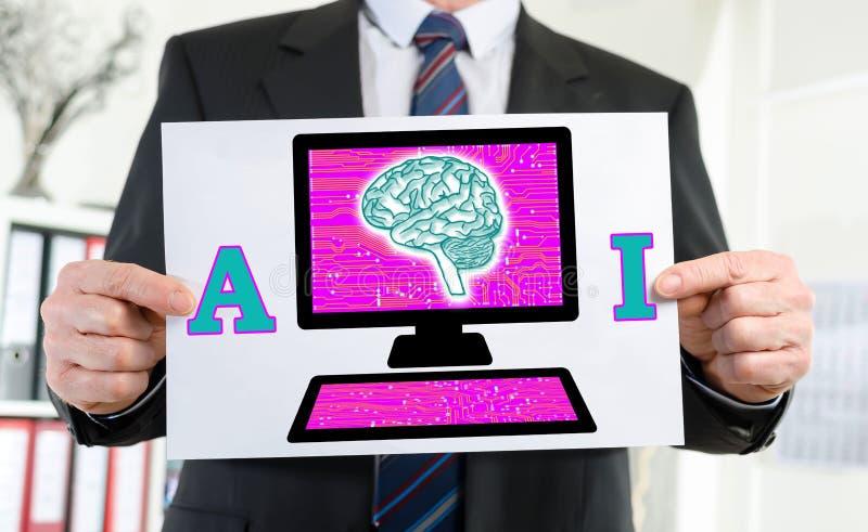 Conceito da inteligência artificial mostrado por um homem de negócios foto de stock