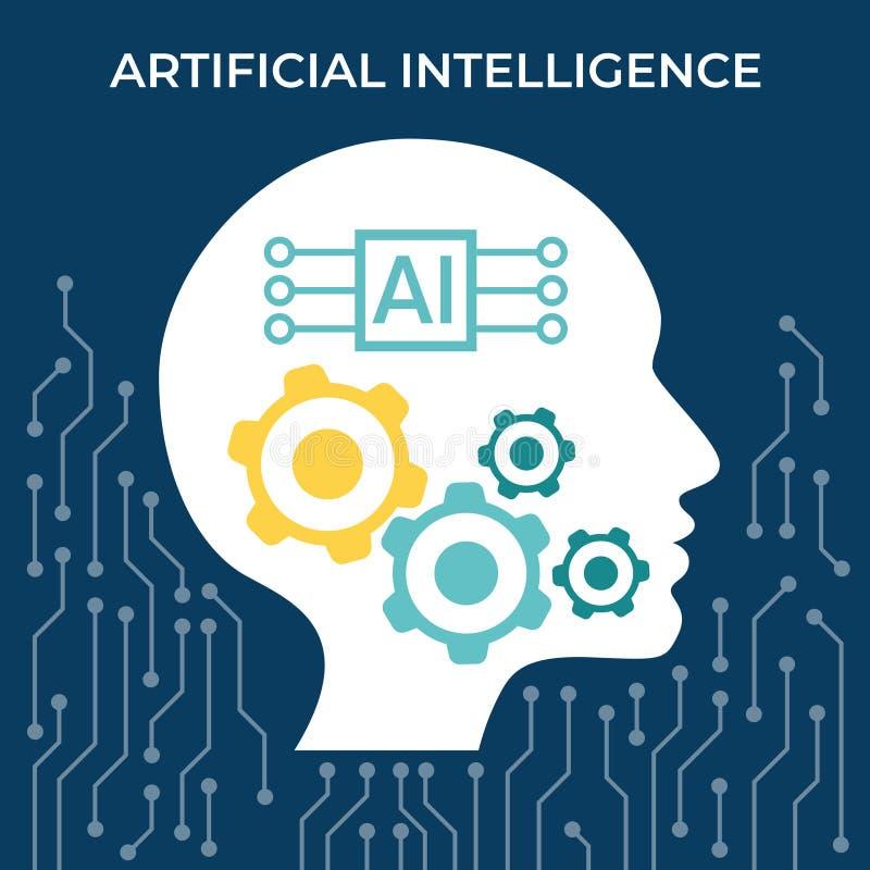 Conceito da inteligência artificial Visualização grande humano futurista dos dados Projeto da mente do Cyber Aprendizagem de máqu ilustração royalty free