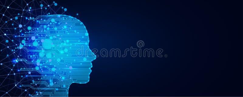 Conceito da intelig?ncia artificial Fundo virtual da Web da tecnologia Conceito da aprendizagem de m?quina e da domina??o da ment ilustração royalty free