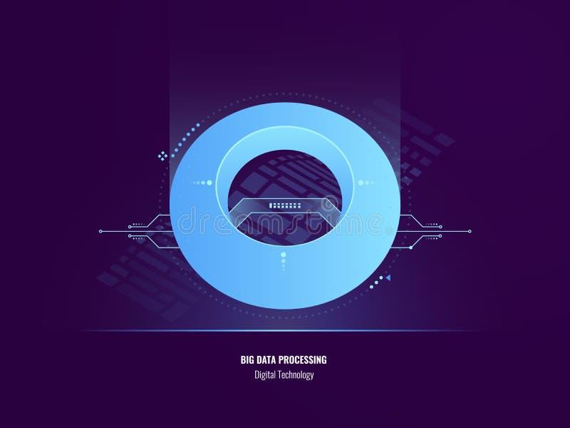 Conceito da introspecção dos dados, ilustração grande abstrata da análise de dados, objeto da tecnologia digital, esfera futurist ilustração stock