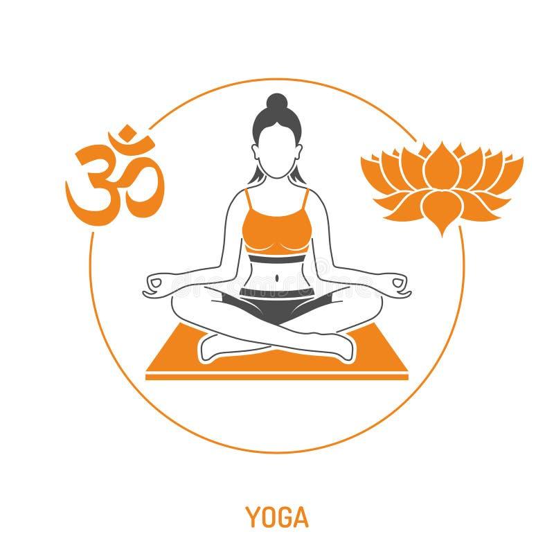 Conceito da ioga e da aptidão ilustração do vetor