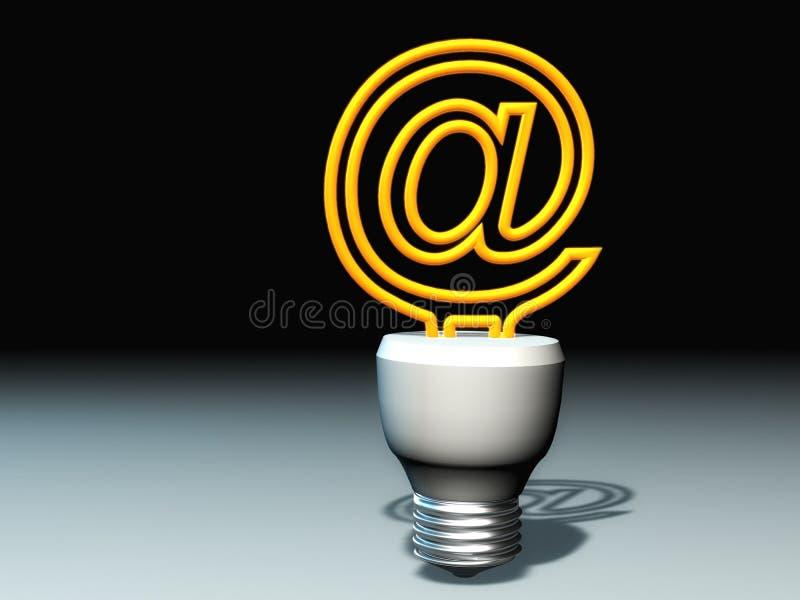 Conceito da lâmpada do email ilustração stock