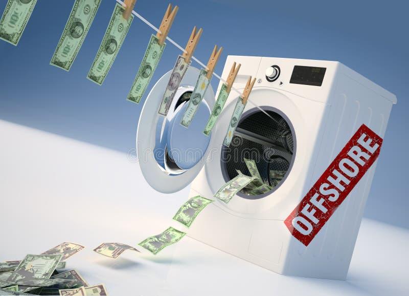 Conceito da lavagem de dinheiro, salto do dinheiro na máquina de lavar foto de stock royalty free