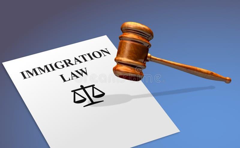 Conceito da lei da imigração com um martelo fotografia de stock