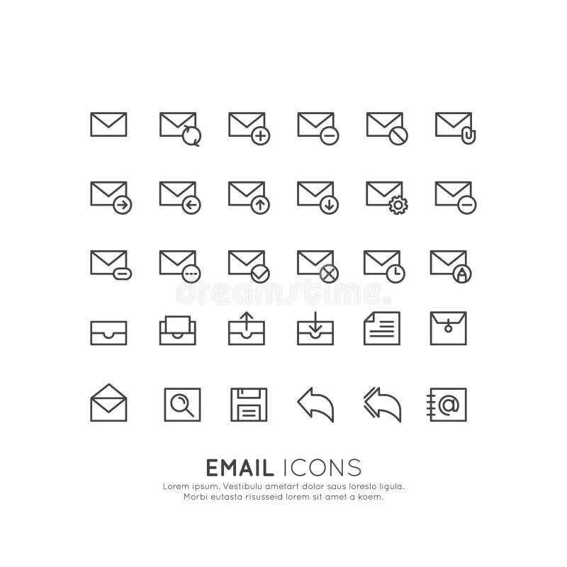Conceito da letra do envelope da caixa do email, da ferramenta de uma comunicação da entrega da mensagem, de símbolos isolados pa ilustração royalty free