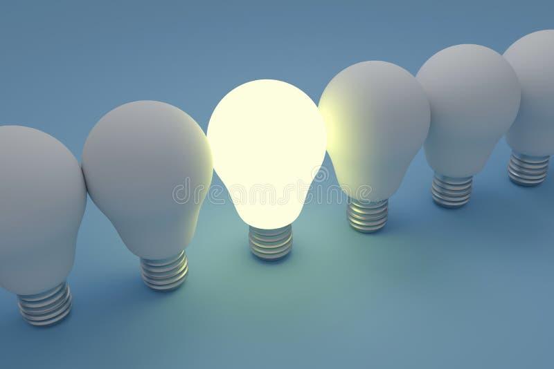 Conceito da liderança com bulbos ilustração royalty free