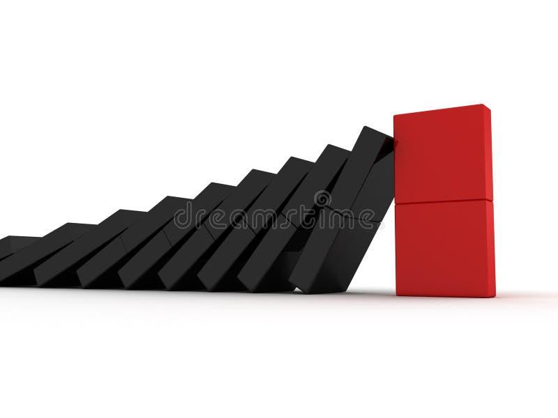 Conceito da liderança com o líder do dominó de equipe vermelho ilustração do vetor