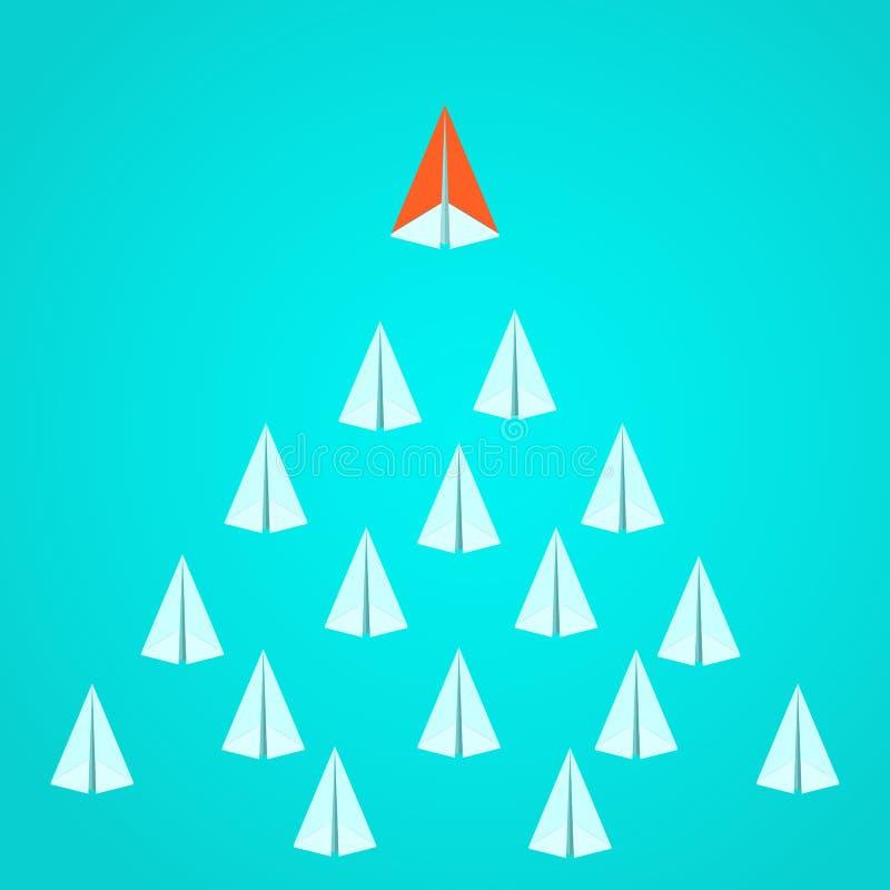 Conceito da liderança Líder alaranjado do avião de papel que está para fora da multidão Oportunidades da vantagem do negócio e co ilustração do vetor
