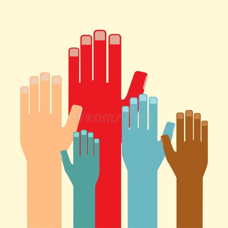 Conceito da liderança Mãos coloridos acima ilustração do vetor
