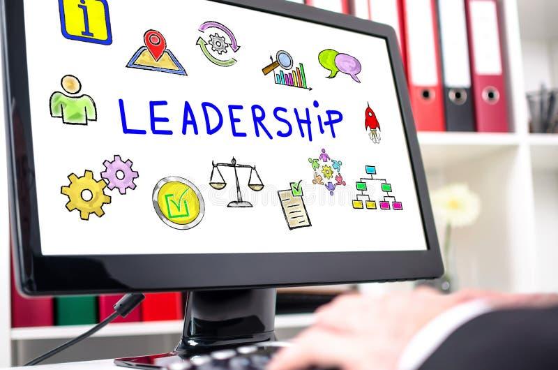 Conceito da lideran?a em um tela de computador ilustração do vetor