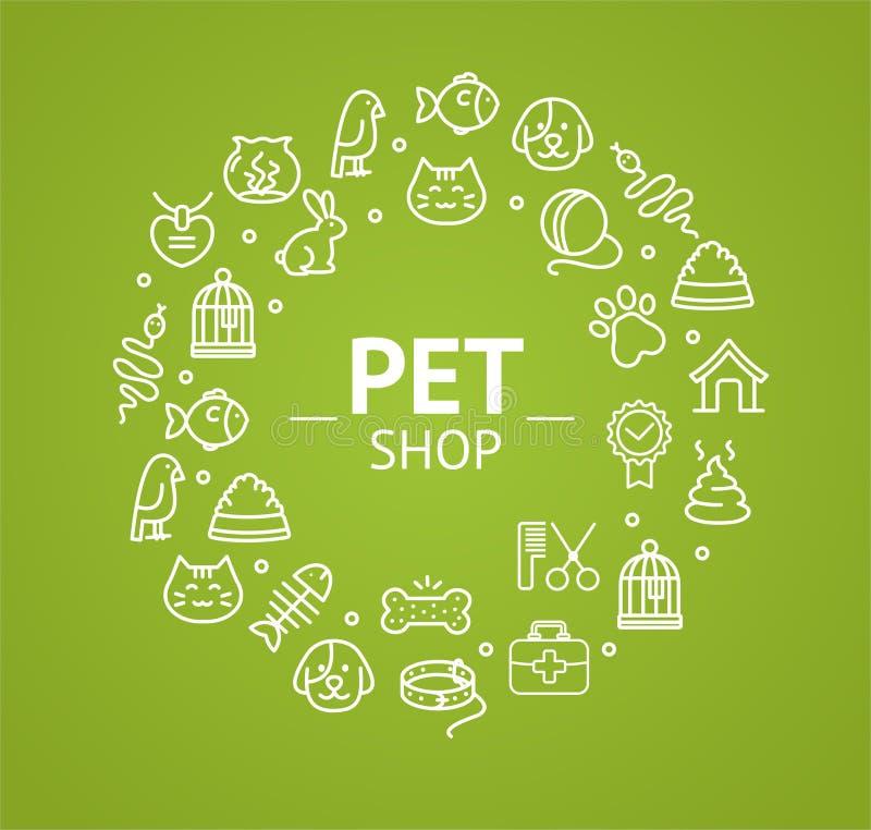 Conceito da loja de animais de estimação Vetor ilustração do vetor
