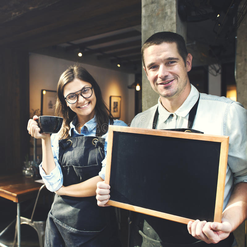 Conceito da loja de Barista Staff Working Coffee fotografia de stock