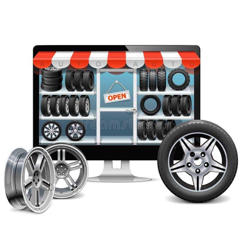 Conceito da loja do pneu do vetor ilustração do vetor