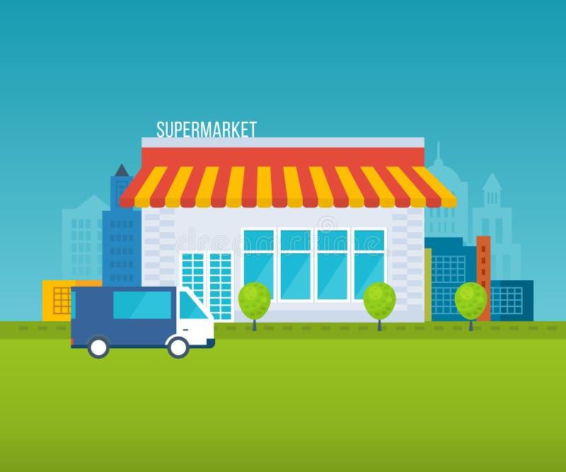 Conceito da loja do supermercado com variedade do alimento, horas de abertura e opções do pagamento, ilustração dos ícones da ent ilustração royalty free