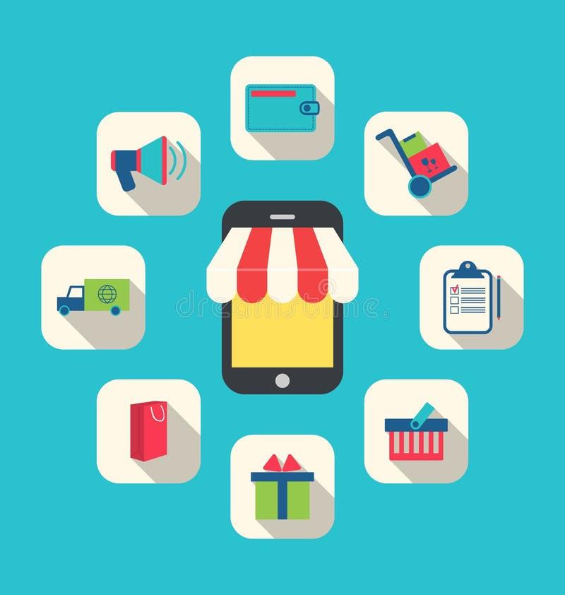 Conceito da loja em linha, comércio eletrônico, ícones simples coloridos ilustração stock
