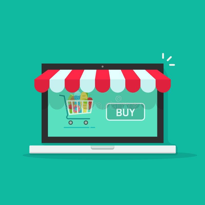 Conceito da loja em linha, ilustração do vetor da loja do Internet do comércio eletrônico ilustração do vetor