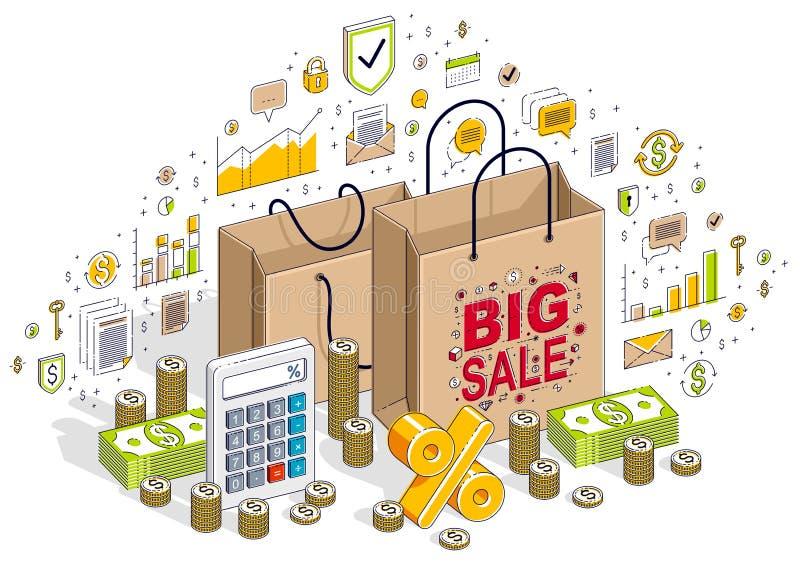 Conceito da lotação esgotada, retalho, venda grande, saco de compras com dinheiro do dinheiro ilustração stock