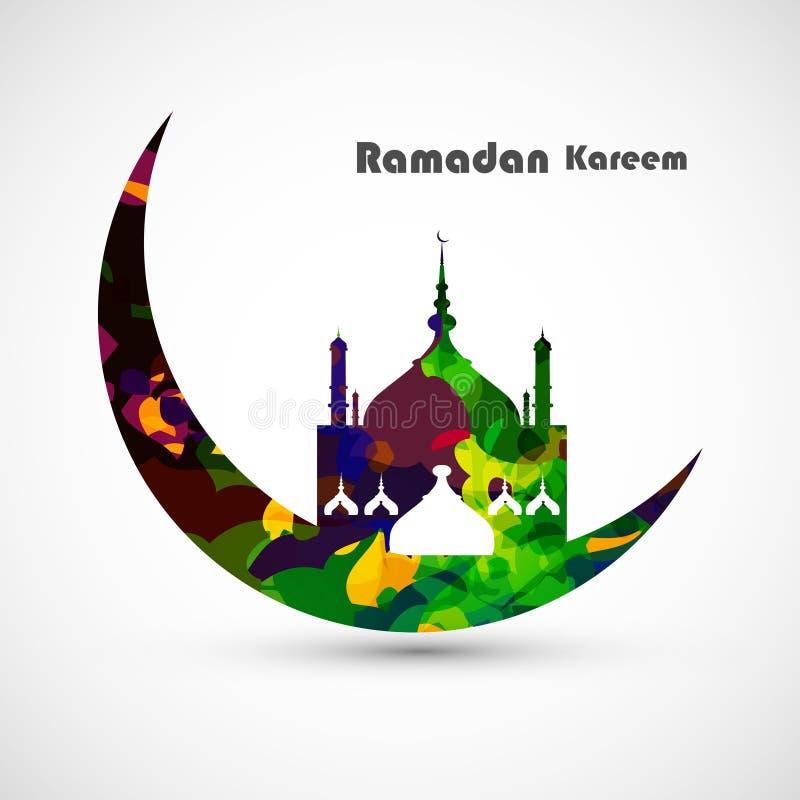 Conceito da lua do cartão do kareem da ramadã ilustração do vetor