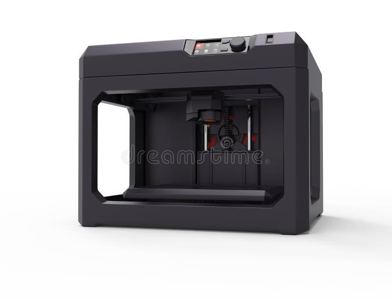 conceito da máquina da impressora 3d, isolado no branco ilustração stock