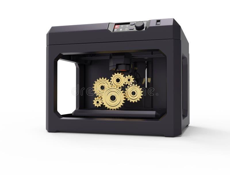 conceito da máquina da impressora 3d, isolado no branco ilustração do vetor