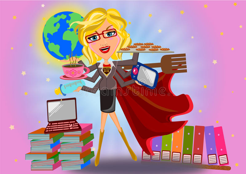 Conceito da mãe do super-herói ilustração royalty free