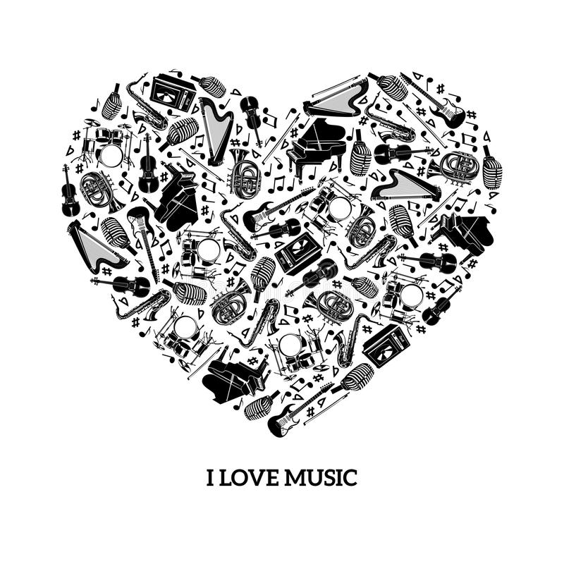 Conceito da música do amor ilustração royalty free