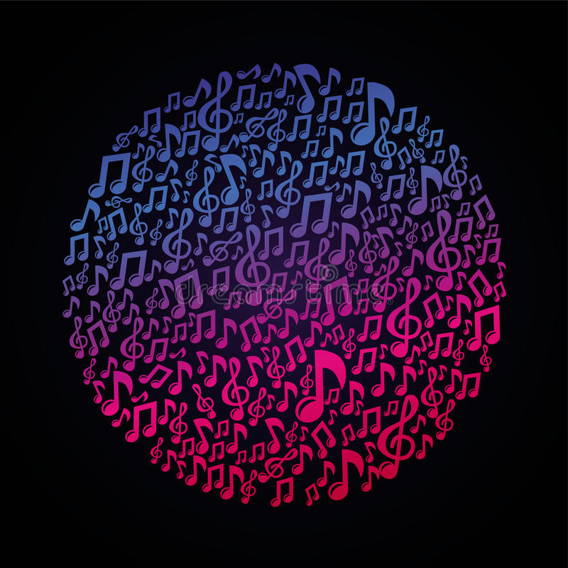 Conceito da música do vetor - notas musicais ilustração stock