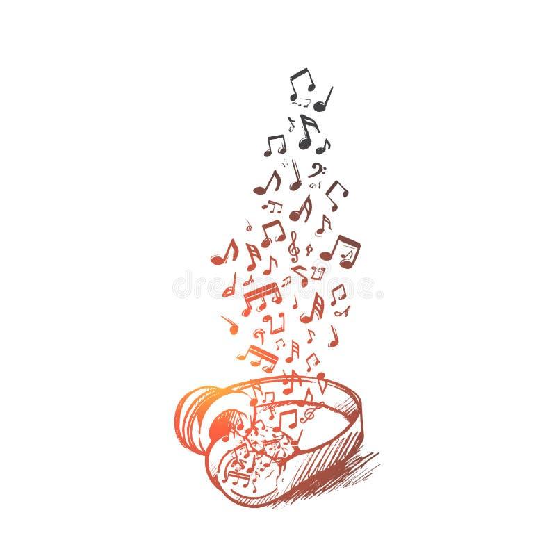 Conceito da música Vetor isolado tirado mão ilustração do vetor