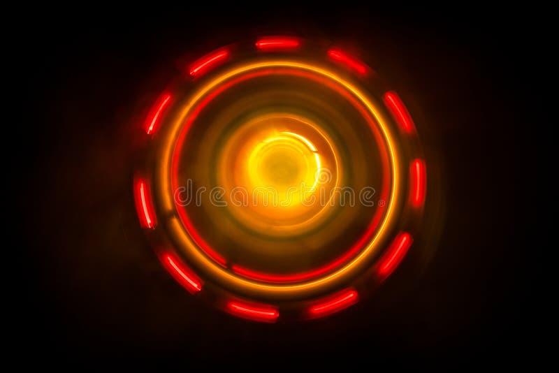 Conceito da música Vinil de incandescência de Freezelight no fundo escuro ou plataforma giratória que joga o vinil com linhas abs imagem de stock royalty free