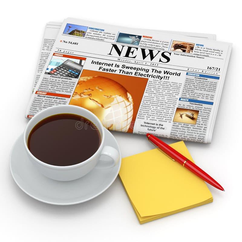 Conceito da manhã do negócio. Copo de café, jornal e lembrete ilustração stock