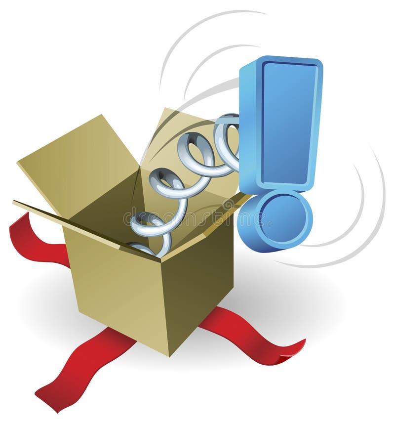 Conceito da marca de exclamação de Jack In The Box da surpresa ilustração stock
