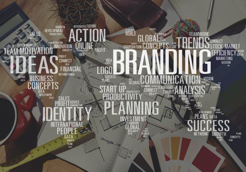 Conceito da marca registrada do mundo da identidade da propaganda do mercado de marcagem com ferro quente imagem de stock