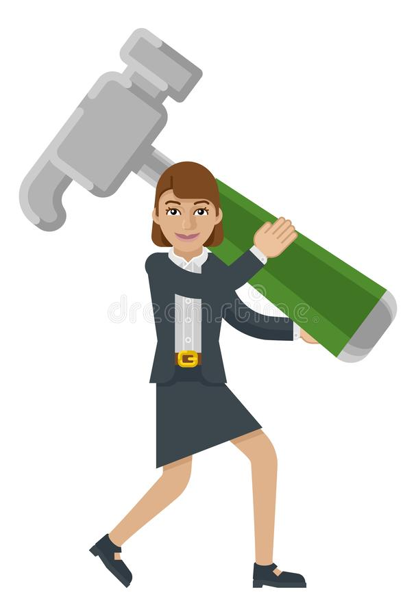 Conceito da mascote do martelo da terra arrendada da mulher de negócio ilustração stock