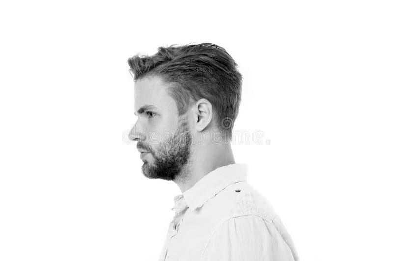 Conceito da masculinidade Indivíduo com a barba com aparência considerável, vista lateral O homem com barba ou o indivíduo não ba fotografia de stock