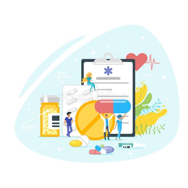 Conceito da medicamentação e da farmácia ilustração stock