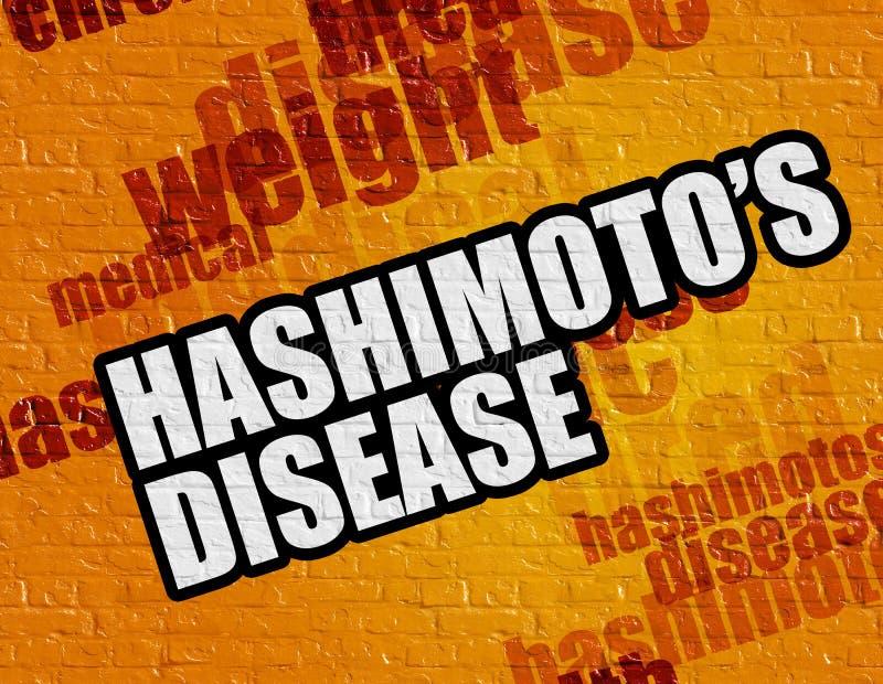 Conceito da medicina: Doença de Hashimotos em Brickwall amarelo ilustração royalty free