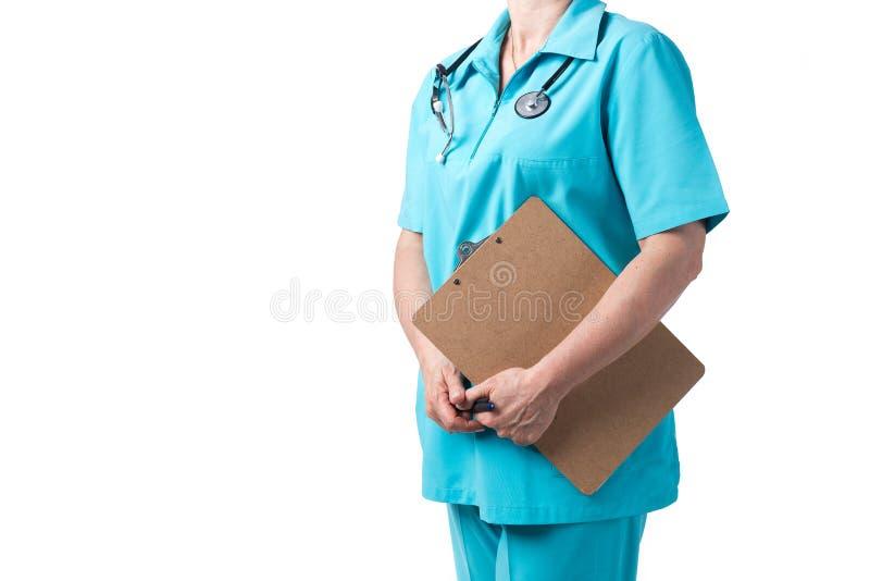 Conceito da medicina e dos cuidados m?dicos Doutor com o estetosc?pio na cl?nica, close-up imagem de stock